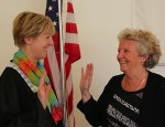 Town Clerk Dawn Michanowicz and Selectman Maureen Cranson at the swearing in ceremony on May 13.  Photo: Richard Maki